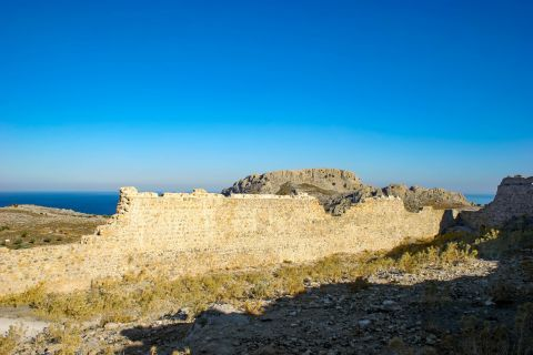 Archangelos: Ruined walls of the Medieval Castle.