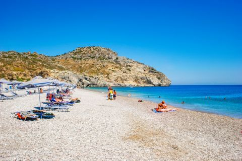 Traganou: Only a small part of the beach is organised