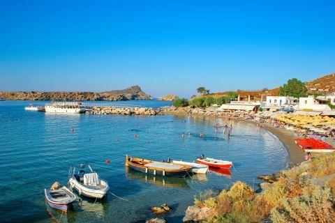 Lindos Beach Palace: Small, fishing boats.