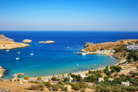 Lindos Beach Palace: Beautiful, panoramic view of the beach and of the surrounding area.