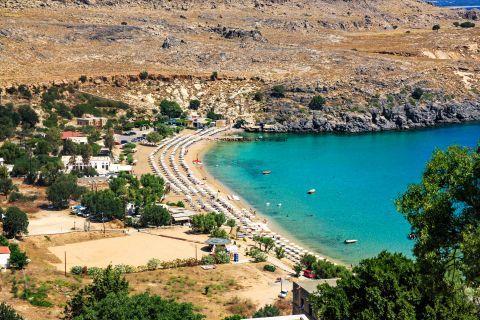 Lindos Beach Megali Paralia: Panoramic view of Lindos Megali Paralia beach