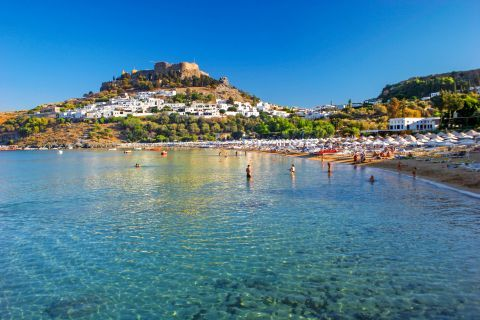 Lindos Beach Megali Paralia: Crystal clear waters and view of the Castle.
