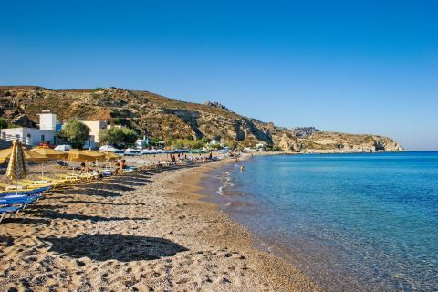 Stegna: Sandy beach with crystal clear waters. Stegna beach.
