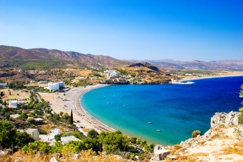 Vlicha: Impressive landscape. The blueish waters and mountainous surroundings of Vlicha beach.