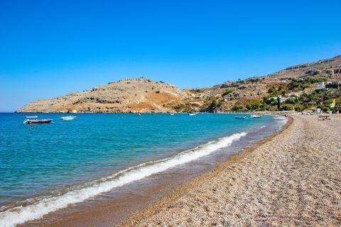 Vlicha: The calm shore of Vlicha beach.
