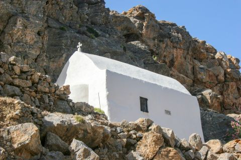 Sfakia: A whitewashed chappel, tucked away on steep cliffs.