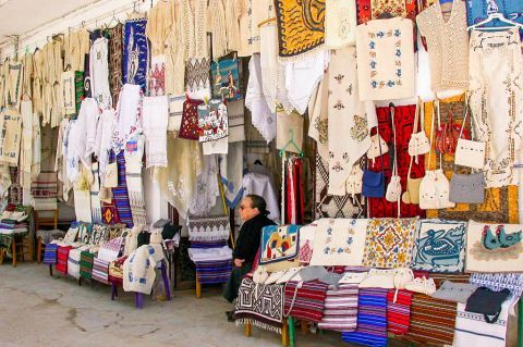 Anogia: A shop with traditional embroidery.