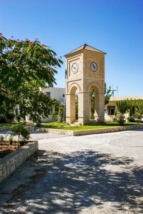 Anogia: Tower clock, Anogia village.