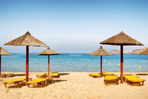 Mylopotas: Some umbrellas and sun loungers on Mylopotas beach, Ios.